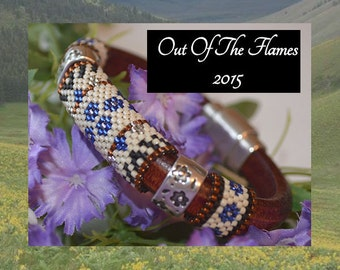 Bead PATTERN Floral Licorice Leather Bracelet  Peyote Or Brick stitch