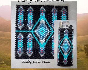 Bead PATTERN Desert Blue Lighter Cover Peyote or Brick stitch
