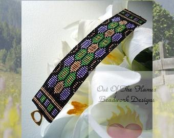 Bead PATTERN Jewel Tones Cuff Bracelet Loom Or Square Stitch