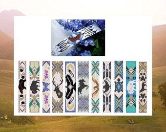 Bead PATTERNS Big E Book Of Native Totem Cuffs  Bracelet Loom Square Stitch