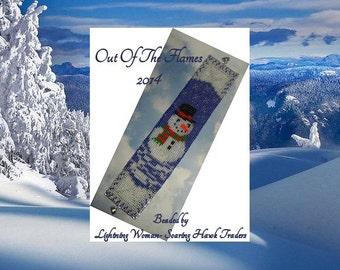 Bead PATTERN Snowman Cuff Bracelet Loom Square Stitch