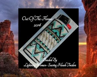 Bead PATTERN Sante Fe Lighter Cover Peyote Brick Stitch