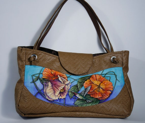 Hummingbird & Hibiscus - large satchel