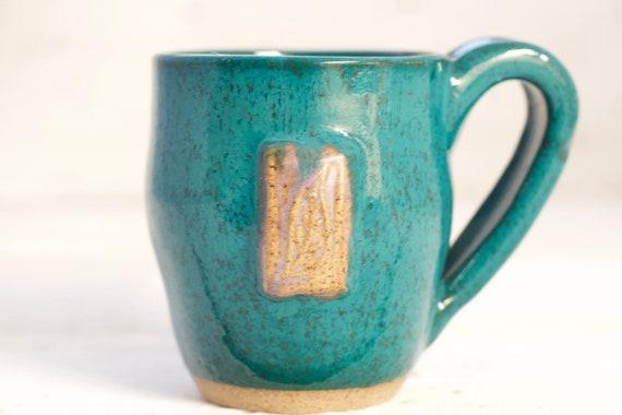 Mini Teal Mug With Leaf Etsy