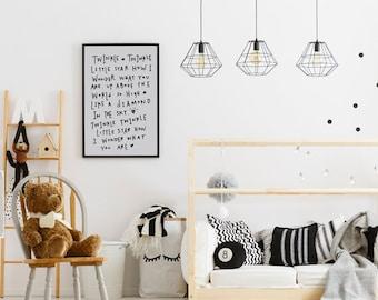 Twinkle Twinkle Little Star, Nursery Decor, Nursery Wall Art, Kids Decor, Black White Nursery Art, Monochrome Nursery, Modern Nursery Decor
