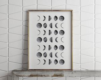 Moon Phases Art Poster |  Home Decor | Homeschool Room Decor | Monochrome Art | Bedroom Decor | Phases of the Moon | Astronomy Art | Moon