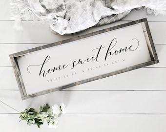 Home Sweet Home Sign | Custom Coordinates Farmhouse Wood Sign | Farmhouse | Farm House | House Warming Gift | Farmhouse Decor | Welcome Home