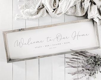Custom Family Sign | Welcome to Our Home | Welcome Sign | Family Welcome Sign | Housewarming Gift | Welcome Home Sign | Family Names Sign
