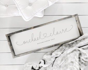 Custom Names Sign | Farmhouse Sign | Anniversary Gift | Housewarming Gift | Marriage Gift | Husband and Wife Gift | Wedding Gift | Home Sign