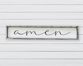 Amen | Farmhouse | Amen Sign | Scripture Sign | Christian Sign | Religious | Bible Verse Wood Sign | Catholic Decor | Christian Home Decor