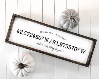 Where Our Story Began Sign | Coordinates Sign | Modern Farmhouse | Newlywed Gift | Housewarming Gift | Wedding Gift | Custom Housewarming