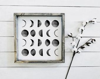 Phases of the Moon | Farmhouse Wall Art | Home Moon Wood Sign | Farmhouse Sign | Farmhouse Decor | Home Decor Farmhouse Style | Astronomy