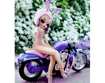 playboy bunny pose doll print 5 x 7 MISS LAVENDER