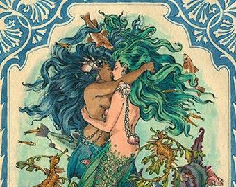 The Sea Princesses Mermaid Lovers Lesbian Mermaids Queer Art LGBT Drawing Gay Romance Felix dEon - Poster