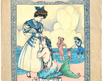 Seaside Romance a Mermaid Lesbian Gay Women Art Print by Felix dEon