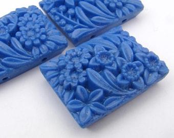 3 pcs vintage 2 hole rectangular blue beads, Japanese opaque glass flower floral 27mm