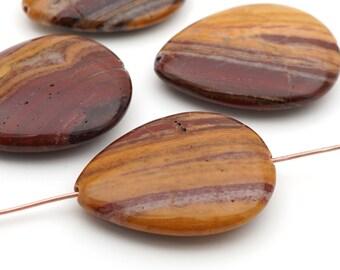Brown Turritella Agate Teardrop Pendant Fossilized Stone Bead 40mm Teardrop Bead