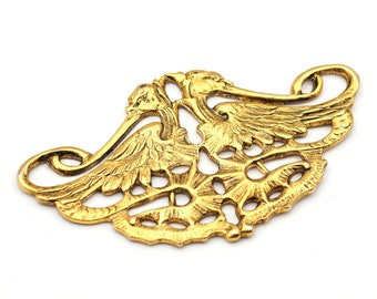 10 pcs Two-Birds Pendant Charm Connector Gold Plated AC050