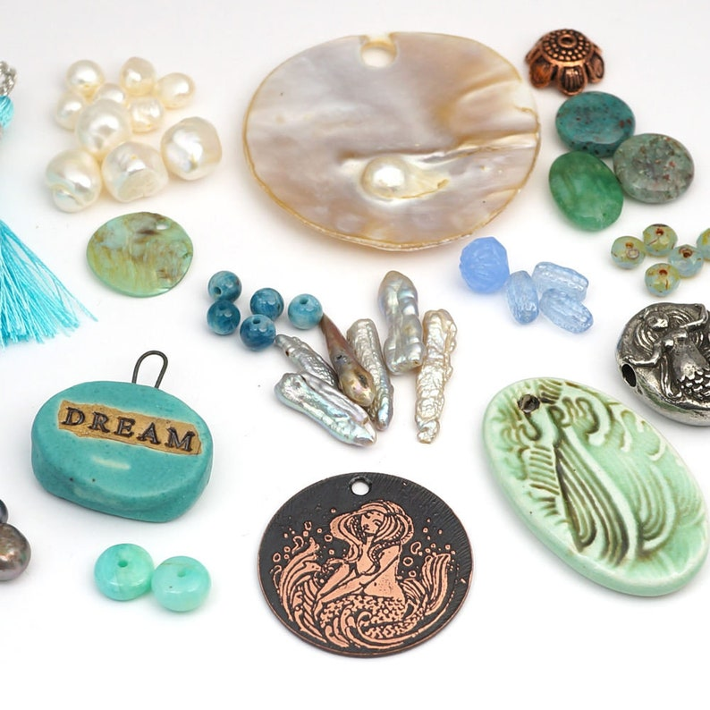 Laurel's Bead Box  a blue green designer's assortment image 0