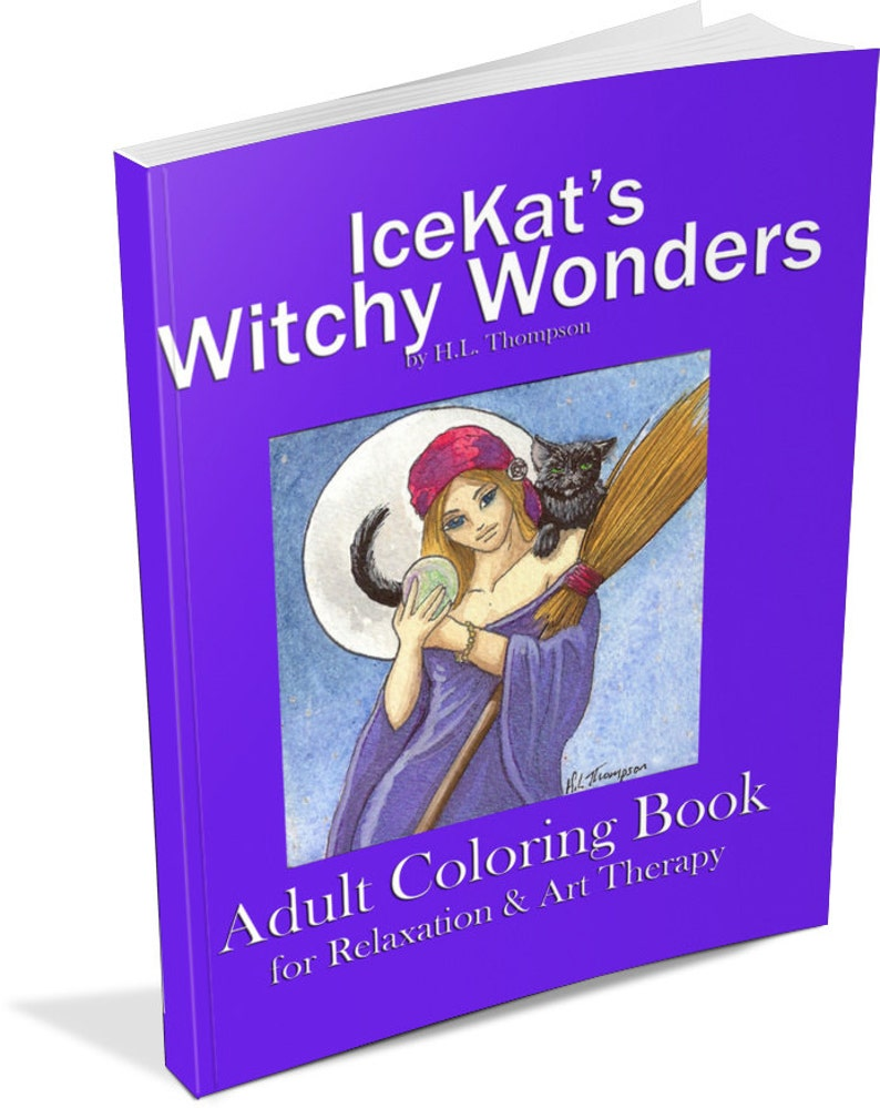 IceKat's Witchy Wonders Adult Coloring Book pagan wicca image 0