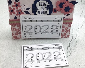 """Tiny 2022 Calendar PDF file for Download. For Hobbies and Crafts. 3-1/8"""" X 1-7/8"""""""