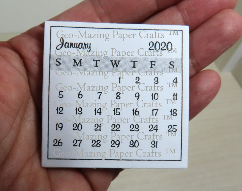 12 Month 2020 Teeny Tiny Square Calendar PDF 1-15/16 image 1