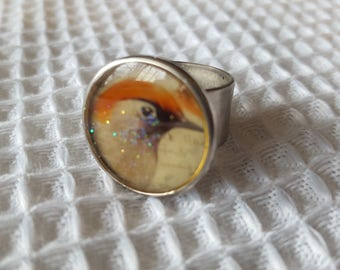 Sweet Handmade Resin Birdy Portrait Adjustable Ring
