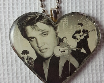 Handmade Elvis Resin Heart with Pictures Pendant with Silver Glitter Back