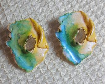 Handmade Painted Watercolor Earrings