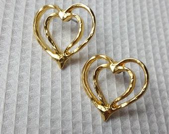Vintage Gold Tone Double Open Hearts Pierced Earrings