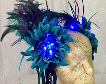 Teal blue Art Nouveau light up feather headdress - LED feather headdress - blue fairy costume headpiece - LED feather crown - LED headband