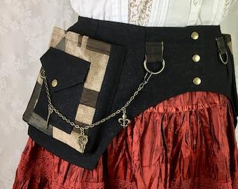 S Black denim w beige/black chenille abstract pocket belt w chain - unisex utility belt - Burning Man utility belt -fancy fanny pack - Small