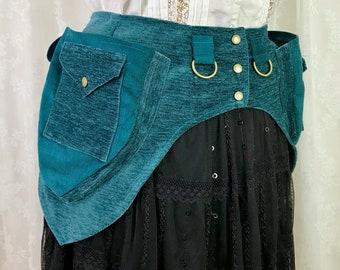 XXS Teal chenille, teal plain weave pocket belt - fancy utility belt - Renaissance faire belt - ren faire belt - pixie pockets - Extra Small