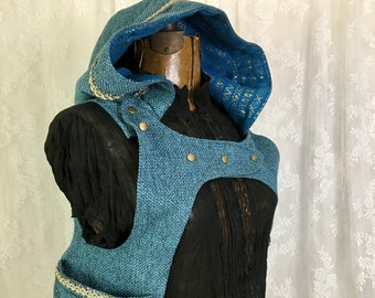 M Teal blue chenille holster hoodie - Little Red Riding Hood pocket vest - holster hoodie - Burning Man holster vest - Medium