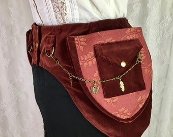 steampunk utility belt black tapestry swirls pocket belt fancy fanny pack Small S Black bella velvet