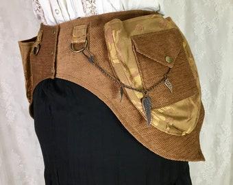 damask swirls fancy pocket belt with black beaded fringe S Black chenille Victorian pocket belt Small
