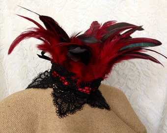 Red wavy fan Maleficent feather collar - red and black Victorian choker - feather choker - goth pirate steampunk cosplay choker - Halloween