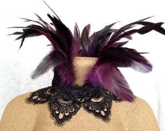 Child's purple crown scallop Maleficent choker - purple black feather necklace - goth Victorian choker - Halloween feather ruff jewelry