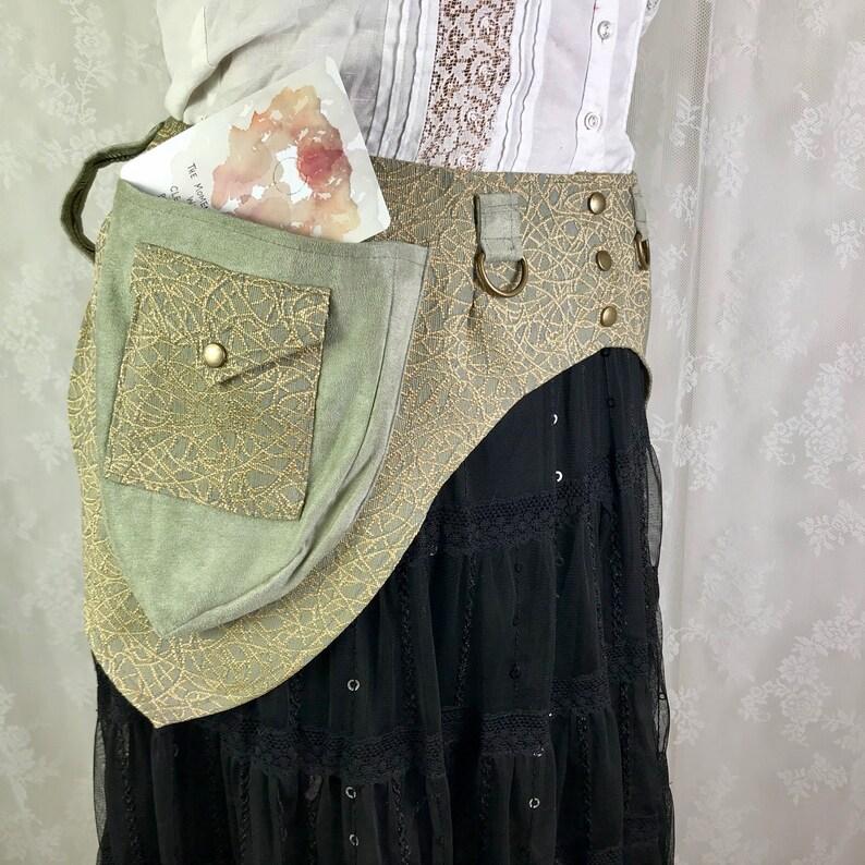 Medium festival belt fancy fanny pack M Sage green crackle tapestry Burning Man utility belt fancy pocket belt sage ultrasuede