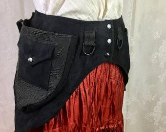 XS Black canvas, black damask swirl utility belt - fancy fanny pack - saddlebags - vegan utility belt - vegan festival belt - Extra Small