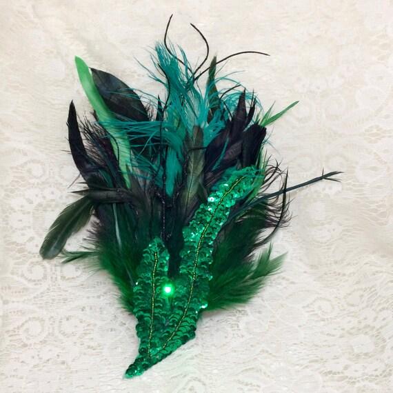 Green and black LED hair fascinator steampunk feather hair  a4f9fa70e59