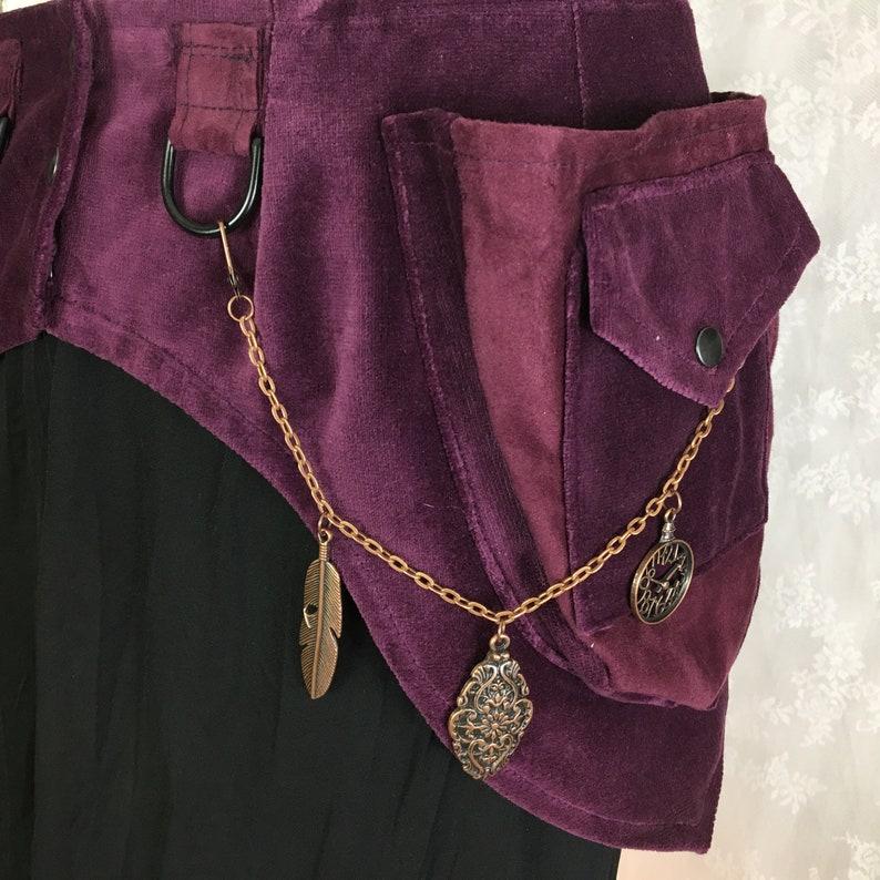 Small S Purple velvet pocket belt ultra high quality pocket belt vegan fabric utility belt fancy fanny pack made in USA