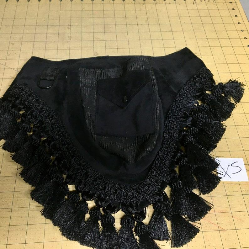 Victorian pocket belt fancy fanny pack Extra Small XS Black bella velvet swirl damask tassels utility belt