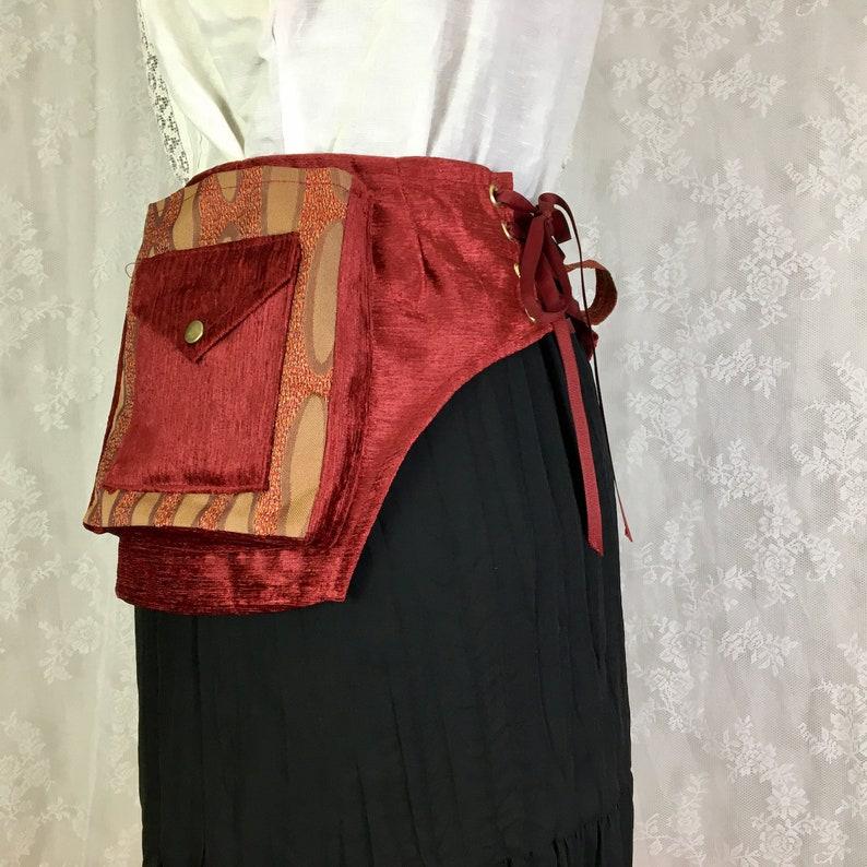 XS Red and gold square pocket belt Burning Man utility belt Extra Small vegan imitation suede utility belt fabric festival belt