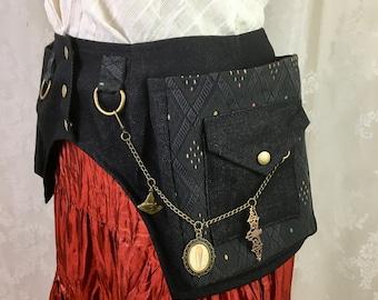 XS Black multi-color diamond canvas, black canvas square pocket belt with chain - Burning Man utility belt - black pocket belt - Extra Small
