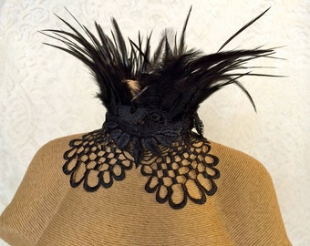Black netted hackle Maleficent feather choker - elegant witchy Victorian choker necklace - feather necklace - lace choker - ready to ship