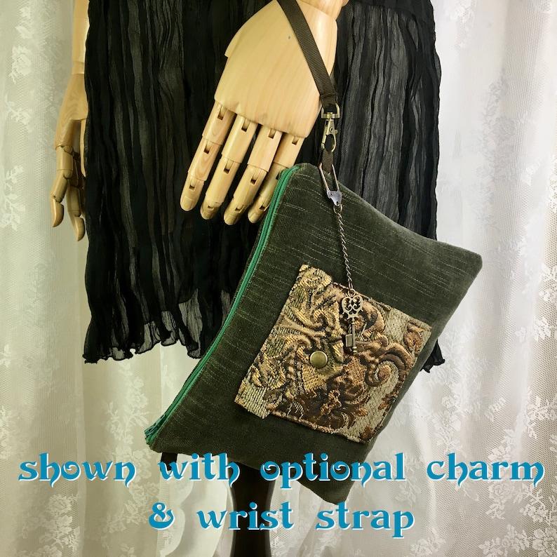 converts to wristlet purse or crossbody purse handmade in California Black chenille tarot pouch zipper pouch tarot deck bag