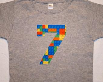 Boys Building Blocks Birthday Shirt Number 7 Boy 7th Construction Bricks