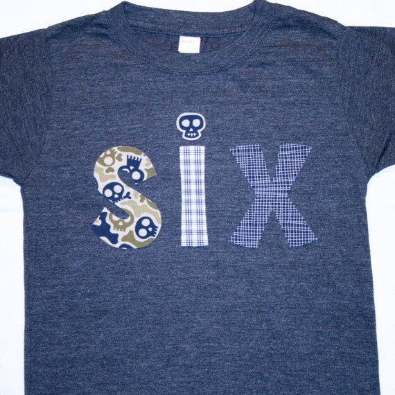 Boys 6th Birthday SIX Shirt Size 6 Heather Navy Short Sleeve