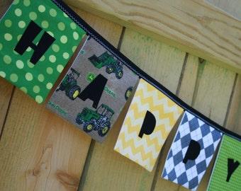 Boys HAPPY BIRTHDAY Sign Reusable Fabric Banner - John Deere Tractors in green yellow black gray brown - Eco-Friendly